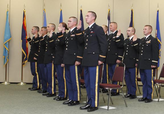 Officers being sworn in